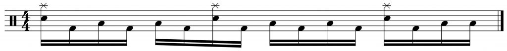 fill of the week variation 2. flams between snare and crash,