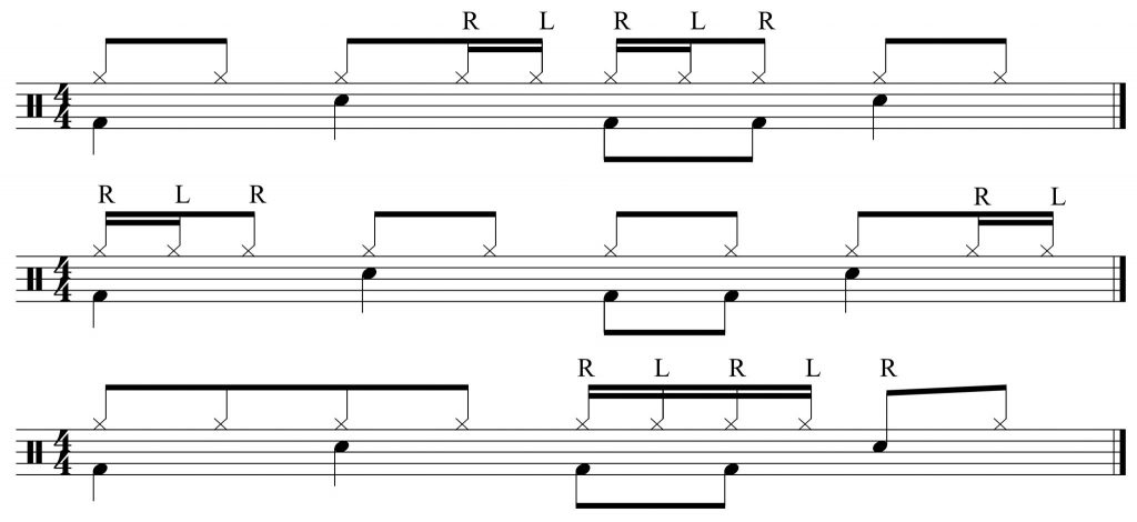 Variations with 16th note hi-hat embellishments