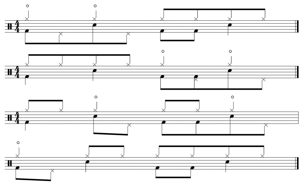 Variations with open hi-hats on the beats.
