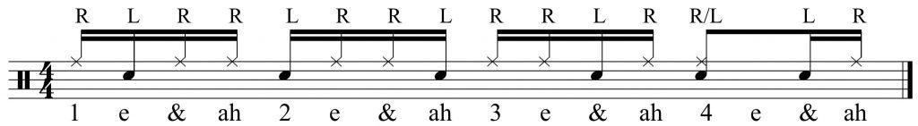 hands split between snare and ride