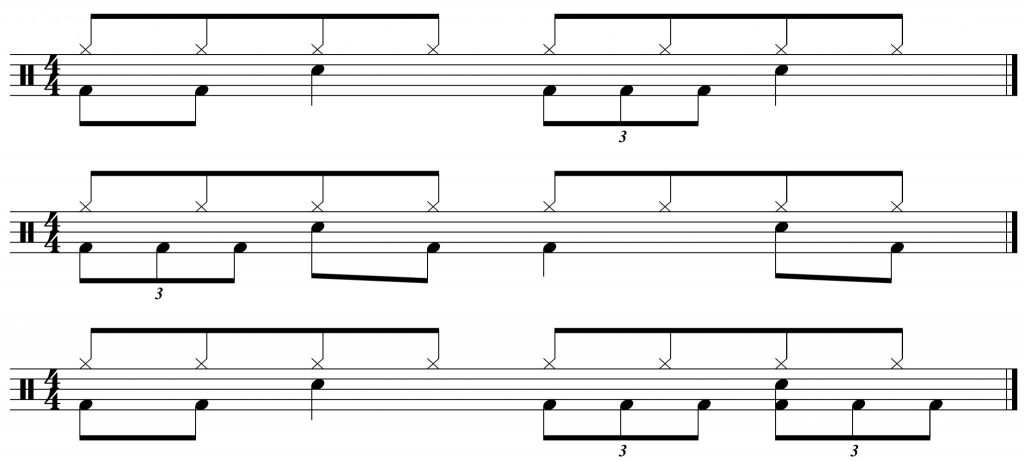 8th note triplet bass drum grooves