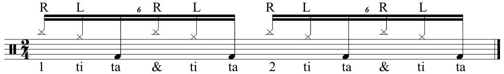 Right Left Kick 16th note triplets.