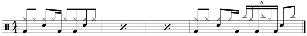 a four bar phrase with the stacked groove at the end.
