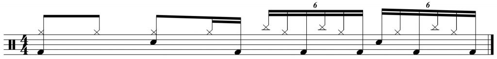 Groove with 16th note triplets over 2 beats.