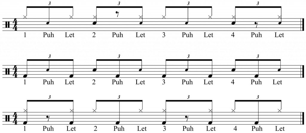 combined voices - hi-hat and snare, bass and snare, bass and hi-hat.