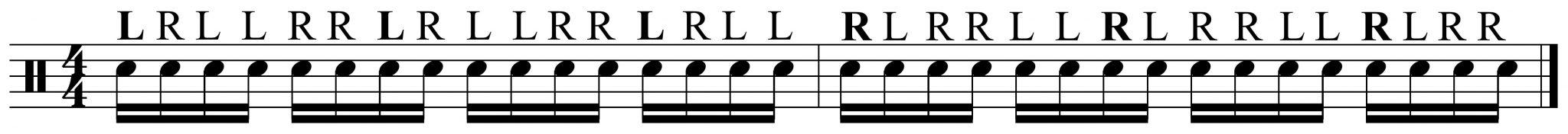 2 bar paradiddle diddle pattern