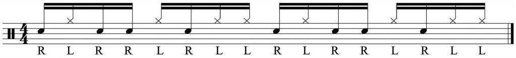 Single paradiddle split between snare and hi-hat