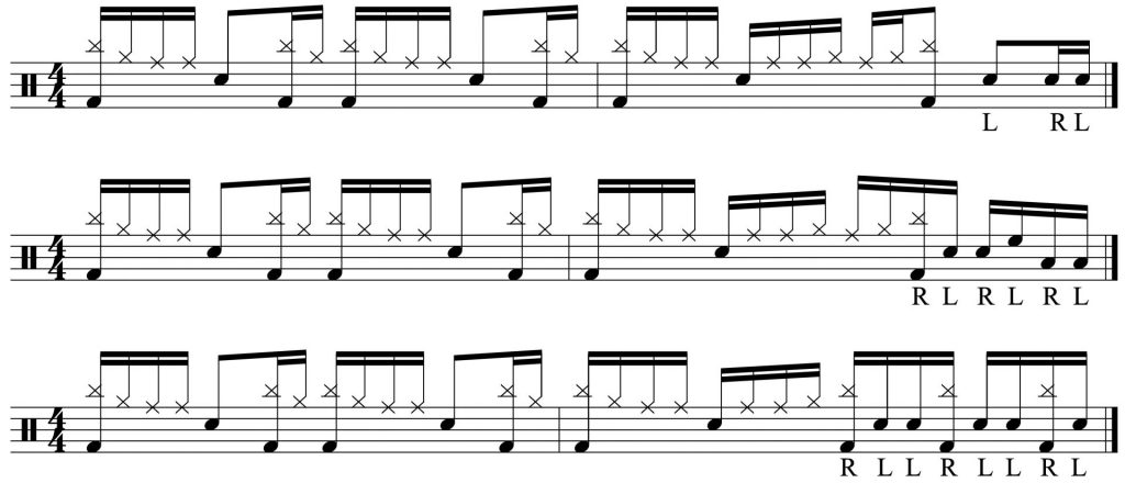 drum fills added to the groove.