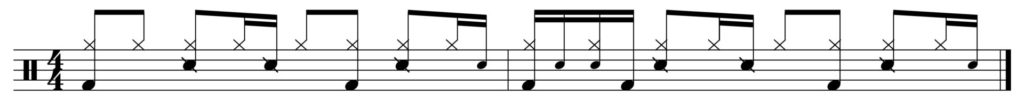 The basic groove with ghost notes added