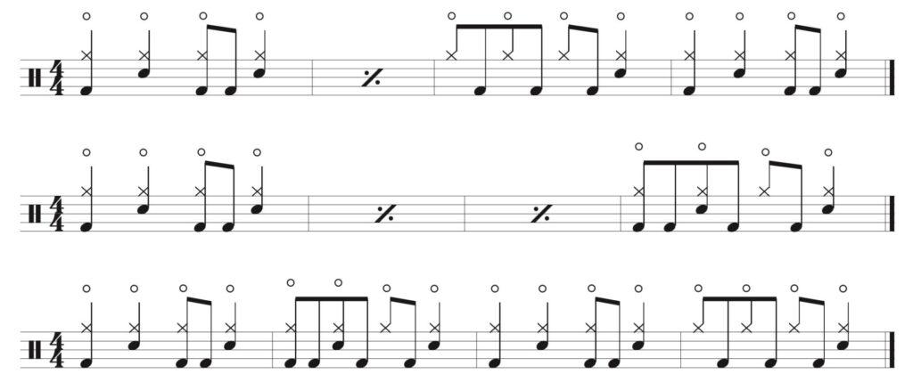 three 4 bar patterns